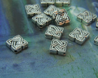 Celtic Spacer Bead Detailed  Knot-work in Antique Silver Beads Bali Style - square 7x7mm