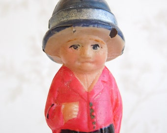 Antique Vintage Japan Celluloid Miniature Doll , Child World Explorer SM Made in Japan mark on back , Small Hole in Hat Brim , 1920 PreWar