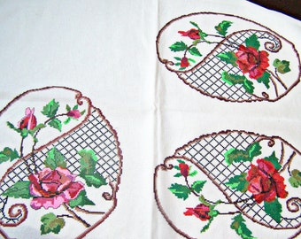 Antique Linens  Romanian Hungarian hand embroidered ON SALE counted thread embroidery red and pink roses on cornucopia 1 cloth with 3 images