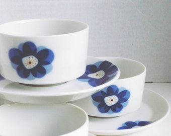 Indigo Moon Mid Century Mod Blue Floral Set of 4