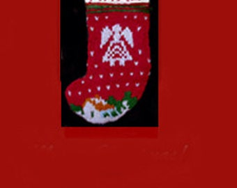 Hand knit Christmas stocking,  Personalized, made of pure wool yarn,  fully lined -- snowhouse and angel in white
