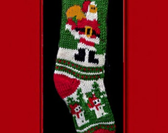 Hand knit Christmas stocking,  Personalized, made of pure wool yarn,  fully lined -- Santa Claus and snowman