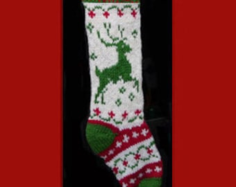 Hand knit Christmas stocking,  Personalized, made of pure wool yarn,  fully lined -- reindeer, wreath andsnowflake