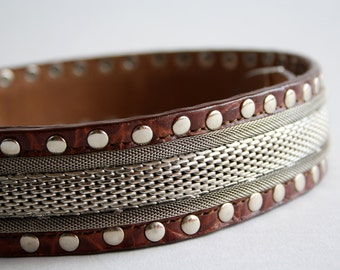 Vintage Leather and Heavy Metal Accent Unisex Belt