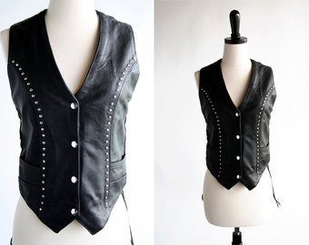 Big B's Leather Vintage Lace Up and Silver Stud Black Leather Moto Woman's Vest