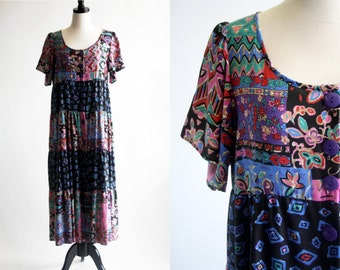 Sea Wind Vintage Cotton Patchwork Style Abstract Funky Print Baby Doll Short Sleeve Maxi Dress