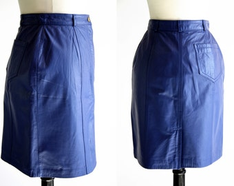 Together Brand Vintage Purple Blue Gorgeous Leather Knee Length Woman's Vintage Skirt