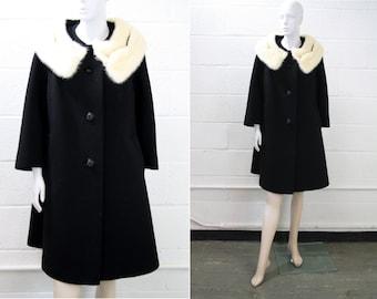 Vintage Rothmoor Black Wool and Fur Collar Ladies' Heavy Swing Coat