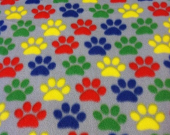 RaToob, Red Yellow Green Blue Paw Prints on Light Gray