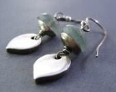 Moss Aquamarine Earrings, Fine Silver Petal Earrings, Metal Clay Dangle