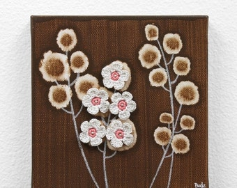 ON SALE Small Flower Painting - Pink and Brown Mixed Media Original Art on Canvas - Mini 6x6