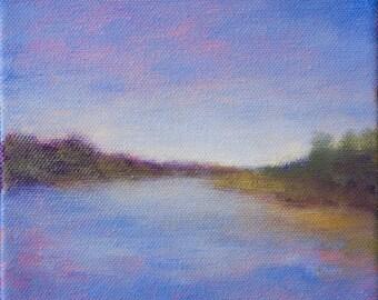 Contemporary Landscape Painting 6x6 -  blue, original wall art, Small Art, Mini Paintings, California River