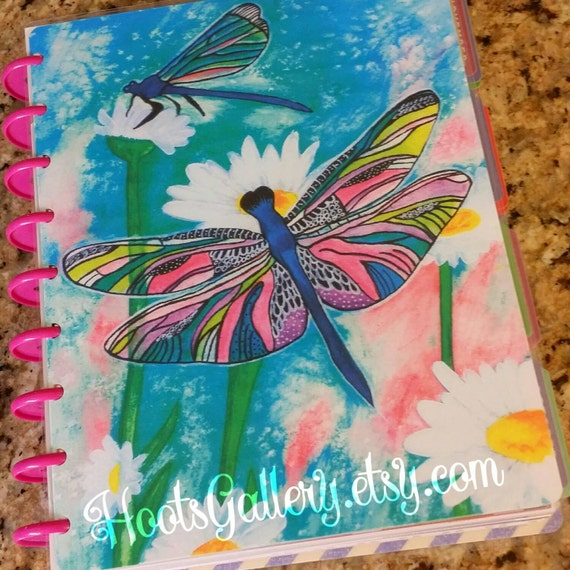 Happy planner cover dragonfly planner planner by hootsgallery for Happy planner accessories