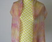 New hand dyed Habotai silk scarf 'Pastel sunset'