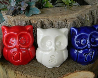 Ceramic  Owl Statue in Red White and Blue  USA Patriotic july 4th Owl , home or garden statue cm