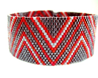 Peyote Bracelet Pattern - Zig-Zag 2 - INSTANT DOWNLOAD PDF - Peyote Stitch Bracelet Pattern Geometric Chevron