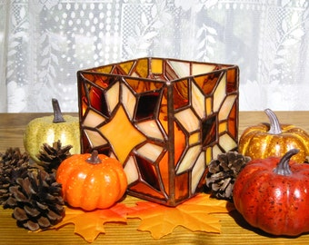 Autumn Candleholder Stained Glass Candleholder in Brown, Burgundy, and Yellow Thanksgiving Candle Holder Stained Glass Glass Candle Holder