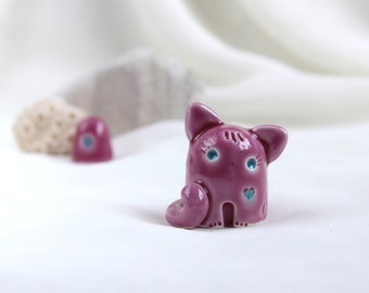 Little Pink-Turquoise romantic Cat - Hand Made Ceramic Eco-Friendly Home Decor by studio Vishnya