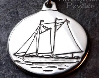 Windjammer Schooner J and E Riggin - Pewter Pendant - Rockland, Midcoast Maine - Ocean, Sailing Ship Jewelry, Built in 1927