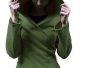 Bamboo Fleece Wrap Hoodie - Moss Green