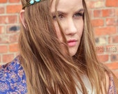 CLEARANCE SALE Chain Headpiece Headband Hair Piece Bohemian Hipster Boho Hippie Bronze Three Strand Turquoise Bridal  Jewelry Single HP3Tq