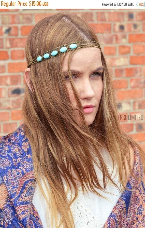CLEARANCE SALE Chain Headpiece Headband Hair Piece Bohemian Hipster Boho Hippie Bronze Three Strand Turquoise Bridal  Jewelry Single HP3Tq