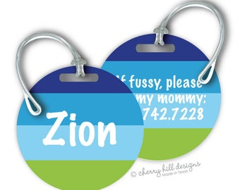 OCEAN Round premium bag tags - 4 inch - click on image to enlarge - seen in Parents magazine and Family Fun magazine