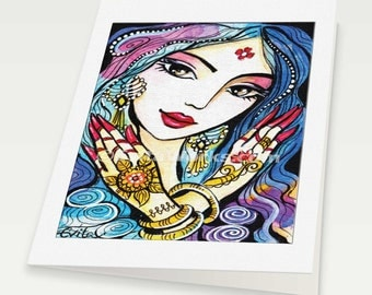 Indian bride art beautiful Indian woman painting feminine beauty wall decor, Indian woman card, woman card, blank art card, 6x8