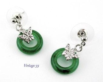 Earrings Jade Butterfly silver tone Pierced