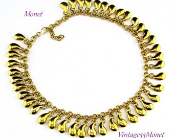 Monet Necklace Gold tone Bead Drop 17 inch
