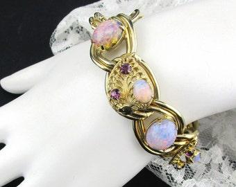 Bracelet Opal Glass Amethyst Rhinestone