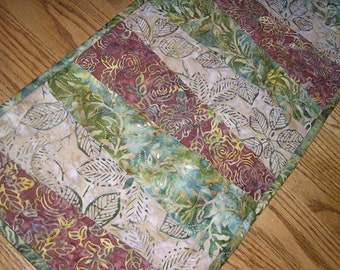 Quilted Table Runner, Batiks in Brown, Greens and Tan,  11 1/2 x 41 1/2 inches