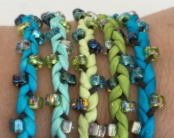 DIY Silk Wrap Bracelet or Silk Cord Kit DIY Bracelet DIY Craft Kit You Make Five Adult Friendship Bracelets in Caribbean Blue Green Palette