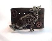 Steampunk Gears Leather Wolf Bracelet Cuff Adjustable OOAK