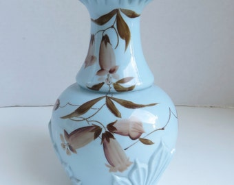 Antique Victorian Blue Hand Painted Ruffled Vase