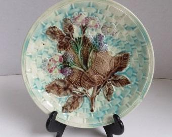 Antique Majolica Blue Berry Plate