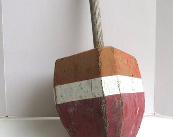 Old Large Wood Painted Wood Buoy Lobster Buoy