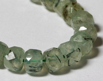 Prehnite Faceted Rondelles 8mm
