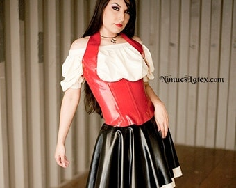 Latex Bar Maid Outfit.  Includes corset, blouse and skirt.  Made-to-order