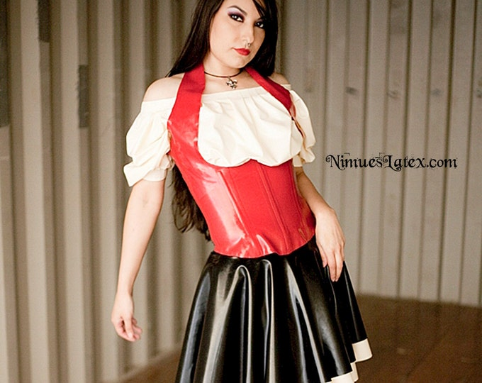 Featured listing image: Latex Bar Maid Outfit.  Includes corset, blouse and skirt.  Made-to-order