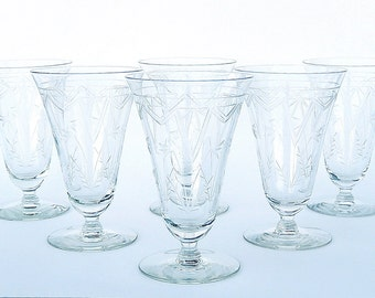 Deauville Art Deco Crystal Iced Tea Parfait Glasses: Set of 4, Rare