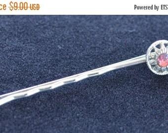 On sale Sweet Vintage Pink Rhinestone Floral Hair Pin, Silver tone (AP5)