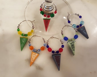 Baseball Pennant with Baseball wording  Colored Wine Charms with Pouch
