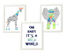 Safari Nursery Art / Jungle Nursery Prints /Oh Baby its wild world / Elephant Giraffe Nursery /  Navy Blue Green Orange / Zentangle Prints