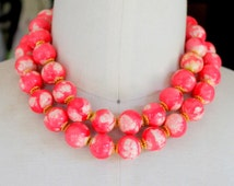 Vintage Necklace Statement Pink Large Beaded 1960s