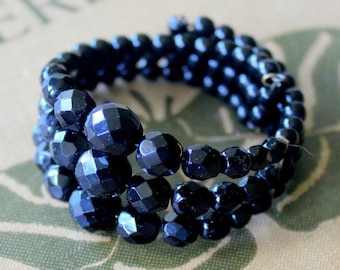 1950s Memory Wire Bracelet Beaded Statement Glass Black