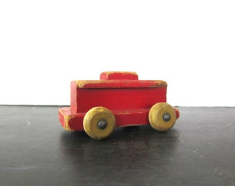 Painted RED Vintage Wooden Train Toy Chippy Paint Child's Playskool Toy Shelf Display Piece