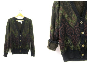 Black and green Sweater Slouchy 80s Retro Cardigan Boyfriend Button Up soft Knit Pattern Sweater Top Vintage Hipster Men's size Medium