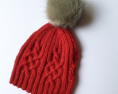 knit cable hat, knit hat, knit women hat, cable knit beanie, knitted beanie, winter accessories, hat, beanie, winter hat, red hat, knit gift