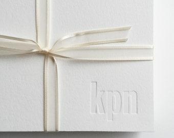 20 Custom Monogram Lower Case Three Initial Blind Deboss in Lower Right Corner Letterpress Note Cards Personalized 3 Letters